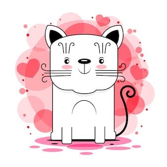 Nettes katzenvektordesign. kinderillustration für schulbücher und mehr. meow-slogan. tierdruckvorratillustration auf einem weißen hintergrund. für design, dekoration, logo.