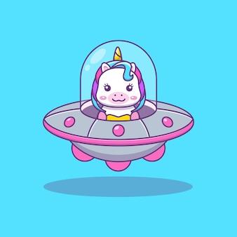 Nettes kawai einhorn, das ufo-karikaturillustration reitet