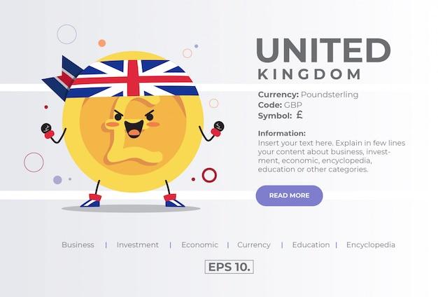 Nettes kawaii-münz-zeichen-illustrations-konzept von gbp poundsterling aus großbritannien großbritannien