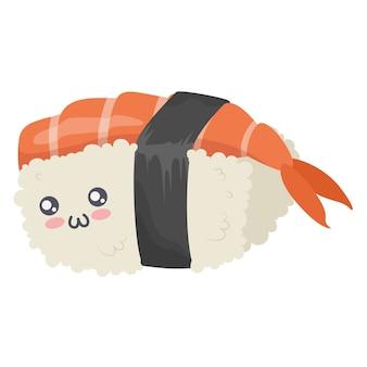 Nettes kawaii sushi-zeichensymbol lokalisiert auf weißem hintergrund.