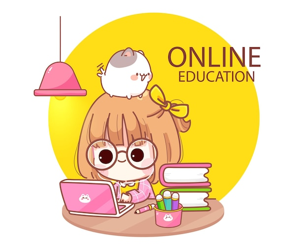 Nettes kind, das online mit computer-laptop-karikaturillustration studiert