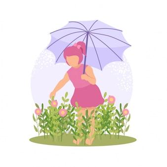Nettes kind des frühlinges, das blume und schmetterling mit regenschirm spielt