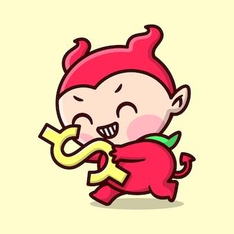 Nettes kind im roten teufel-kostüm lächelt und bringt ein goldenes dollar-zeichen hochwertiges cartoon-maskottchen-design