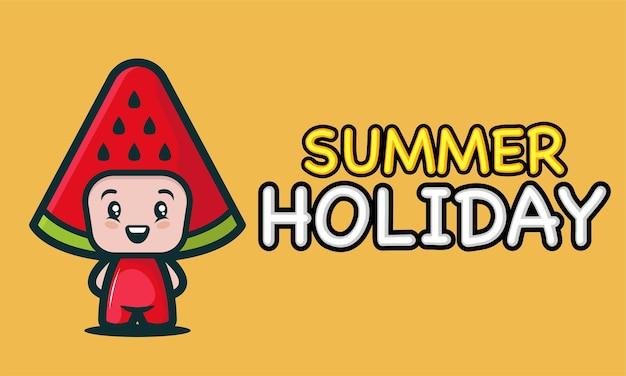 Nettes kind im sommerferienfahnendesign