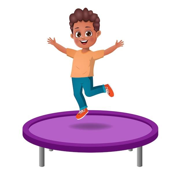 Nettes kind springt auf trampolin. isoliert
