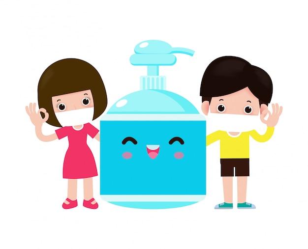 Nettes kind und alkoholgel, kinder und schutz gegen viren und bakterien, gesundes lebensstilkonzept lokalisiert auf weißer hintergrundillustration