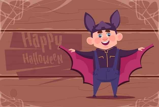 Nettes kinderabnutzungs-schläger-kostüm, glückliches halloween-feier-konzept