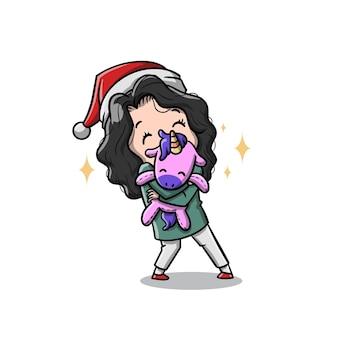 Nettes kindermädchen mit ihrem weihnachtsgeschenk-cartoon