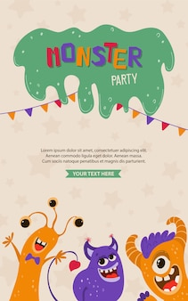 Nettes kinderplakat mit monstern im karikaturstil. partyeinladungsschablone mit lustigen zeichen. grußkarte für einen feiertag, geburtstag.