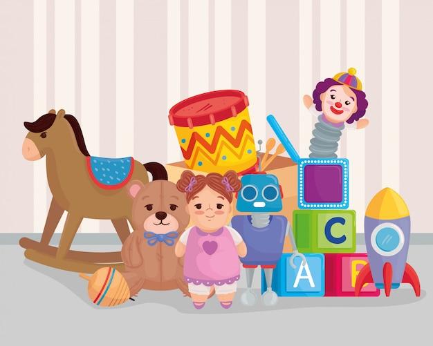 Nettes kinderspielzeug im schlafzimmer