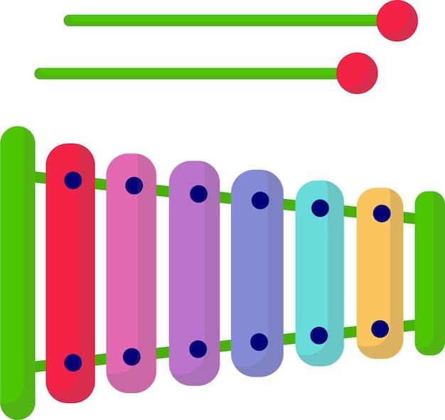 Nettes kinderspielzeug, xylophon. entwicklung des kindes. flache cartoon-stil, auf weißem hintergrund. spiele.