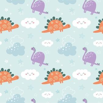 Nettes kindisches nahtloses muster mit dinosaurierwolken und -sternen