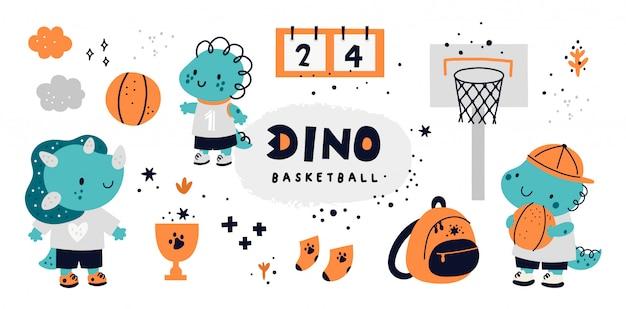 Nettes kindliches set mit tierbaby dino. basketball dinosaurier, sportkollektion