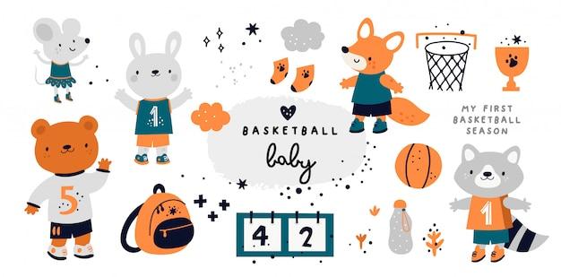 Nettes kindliches set mit tierbabys. basketball-sammlung mit maus, fuchs, hase, waschbär, bär