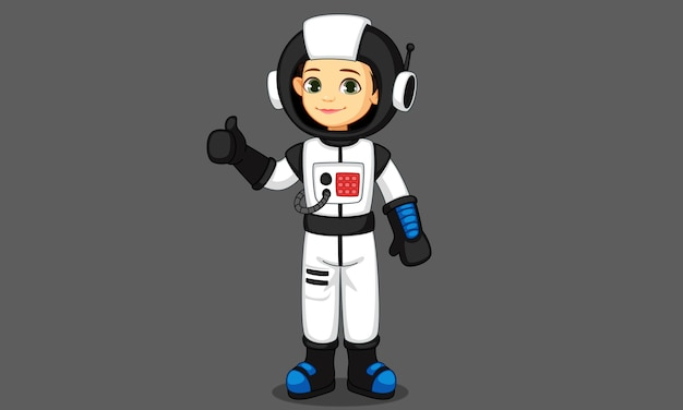 Nettes kleines astronautenmädchen, das daumen zeigt