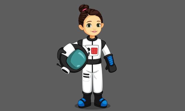 Nettes kleines astronautenmädchen