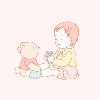 Nettes kleines baby, das mit ihrem bären im linienstil spielt