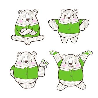 Nettes kleines bärenkarikaturgekritzel