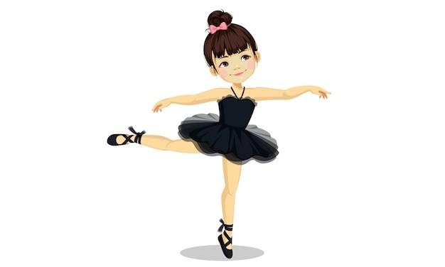 Nettes kleines ballerinamädchen im schwarzen ballettröckchenkleid