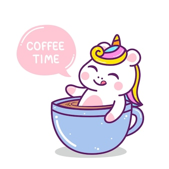Nettes kleines buntes einhorn in kaffeetasse