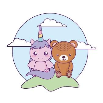 Nettes kleines einhorn mit bärenbaby in der landschaft