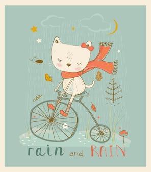 Nettes kleines kätzchen, das auf dem fahrrad fährt hand gezeichnete vektorillustration