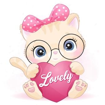 Nettes kleines kätzchen, das eine liebe umarmt
