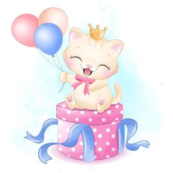 Nettes kleines kätzchen, das in der geschenkboxillustration sitzt