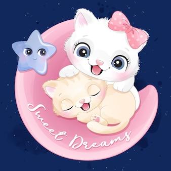 Nettes kleines kätzchen, das in einer mondillustration schläft
