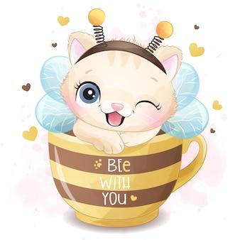 Nettes kleines kätzchen, das in einer tasse illustration sitzt