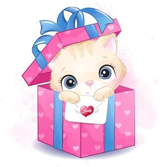 Nettes kleines kätzchen, das innerhalb der geschenkboxillustration sitzt