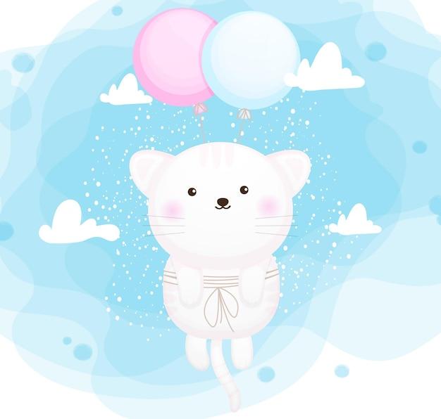 Nettes kleines kätzchen, das mit ballon fliegt