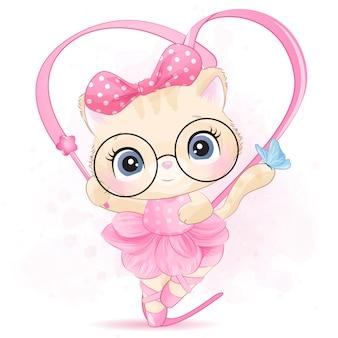 Nettes kleines kätzchen mit ballerina