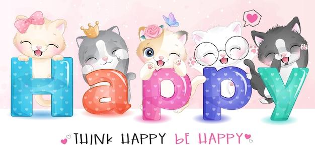 Nettes kleines kätzchen mit glücklicher alphabetillustration