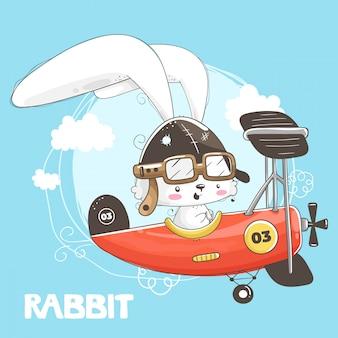 Nettes kleines kaninchen, das im flugzeug fliegt