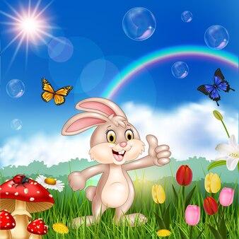 Nettes kleines kaninchen der karikatur, das daumen aufgibt