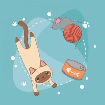 Nettes kleines katzenmaskottchen mit thunfischdose und wollrolle