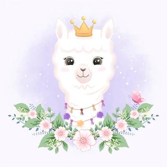 Nettes kleines lama mit gezeichneter karikaturillustration der kronenhand