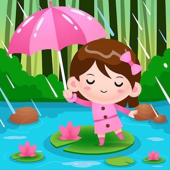 Nettes kleines mädchen auf teich, der unter regenschirm während der regenwetter-karikaturillustration versteckt