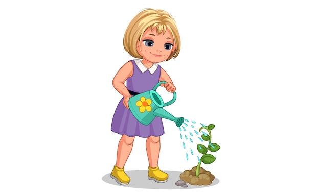 Nettes kleines mädchen, das die pflanzenillustration wässert