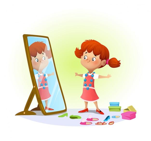 Nettes kleines mädchen, das im spiegel schaut