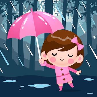 Nettes kleines mädchen der karikatur im rosa mantel, der unter regenschirm während des regenwetters versteckt