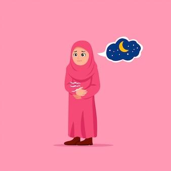 Nettes kleines mädchen hungrige wartende iftar-karikatur-illustration