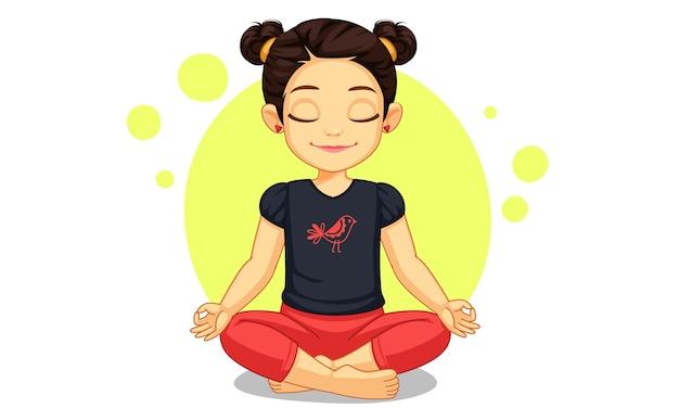 Nettes kleines mädchen in der yoga-poseillustration