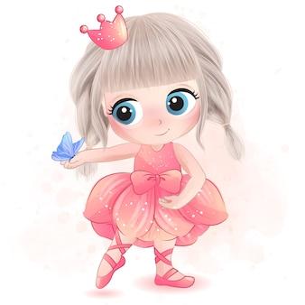 Nettes kleines mädchen mit ballerinaillustration