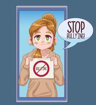 Nettes kleines mädchen mit stoppmobbing-banner in der smartphone-comic-manga-charakterillustration