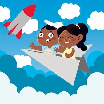 Nettes kleines mädchen und junge auf papierflugzeugkarikatur, kinderillustration