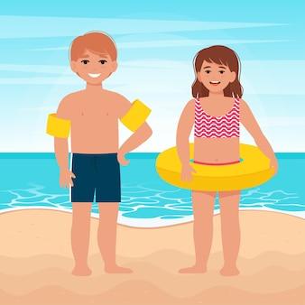 Nettes kleines mädchen und junge im aufblasbaren kreis. kinderentspannung im sommer. vektor-illustration im flachen stil