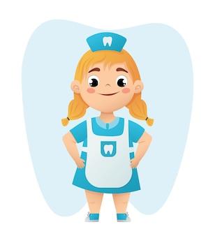 Nettes kleines mädchen zahnarzt charakter vector illustration blondes baby im blauen arztanzug der zahnheilkunde
