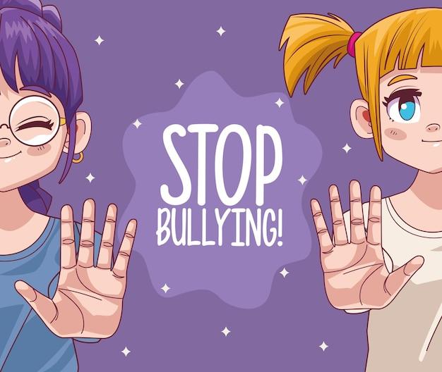 Nettes kleines mädchenpaar mit stop-mobbing-schriftzug der comic-manga-figuren